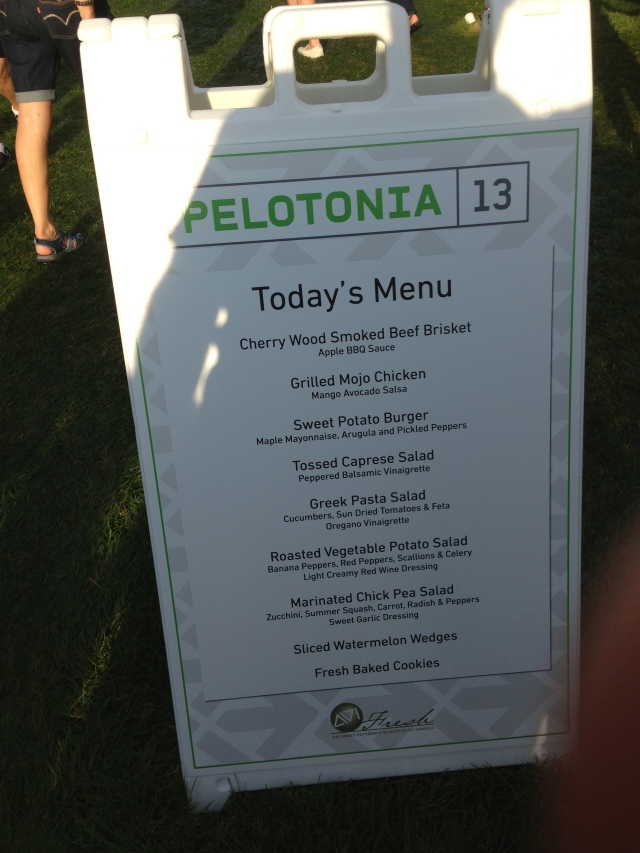 Menu at the opening ceremonies. Free for riders!