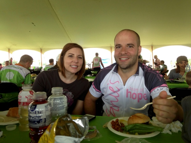 Eating w my sister after completing 50 miles!